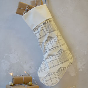 Beach Hut Christmas Stocking - new in christmas