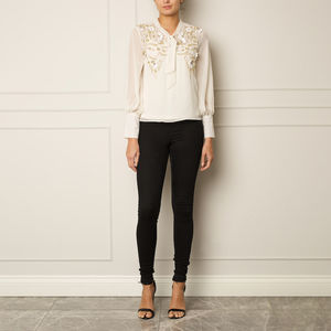 Ivory Blouse With Tie Neck Detail