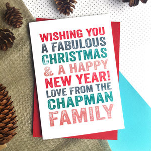 Merry Christmas Personalised Family Greetings Card - christmas cards: packs