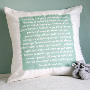 Personalised Baby Promise Cushion