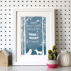 Personalised Wedding Anniversary Print With Dog