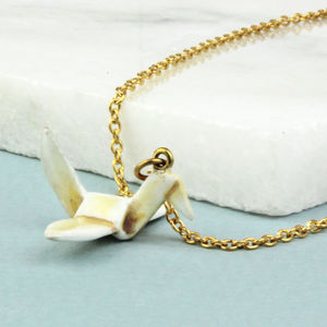 Enamelled Brass Origami Bird Necklace