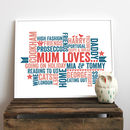 Personalised 'Mum Loves' Gift Print