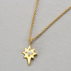 Gold North Star Necklace With White Sapphire - mystical jewellery