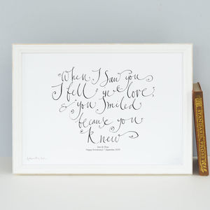 Personalised Gift 'When I Saw You, I Fell In Love'