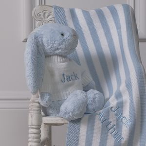 Personalised Striped Knitted Blanket And Bashful Bunny - baby care