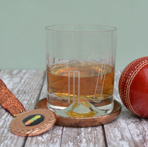 Cricketer's Etched Glass Tumbler