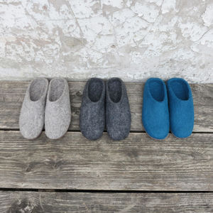 Mita Handmade Felt Slippers With Suede Sole - slippers