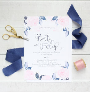 Midnight Blush A5 Wedding Invitation