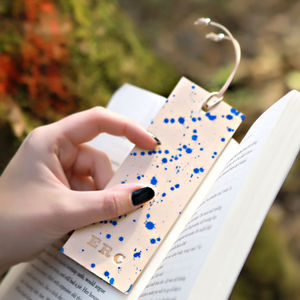 Leather Bookmark, Personalised With Silver Beads - book lover