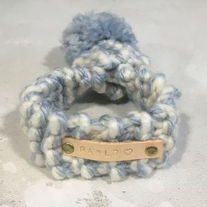 Personalised Hand Knitted Two Colour Dog Scarf