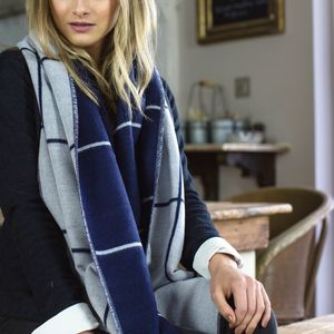 Personalised Navy To Grey Checked Blanket Scarf