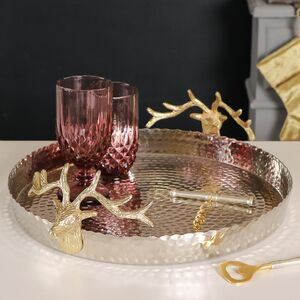 Gold Stag Hammered Cocktail Serving Drinks Tray