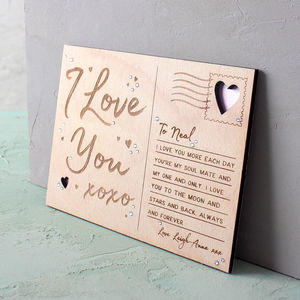 Engraved Wooden 'I Love You' Postcard - valentine's cards
