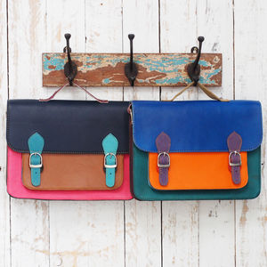 Recycled Colour Block Leather Messenger Bag - mens