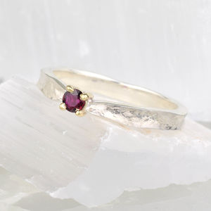 Ruby Textured July Birthstone Ring