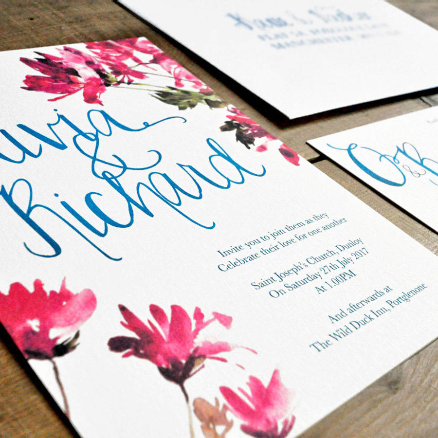 watercolour floral and calligraphy wedding invitation by feel good ...