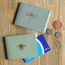 Recycled Leather Bee And Dragonfly Travel Card Holder