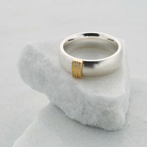 Chunky Silver Ring With Five Gold Strand Detail - wedding rings