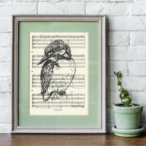 Kingfisher Screen Print On Vintage Sheet Music