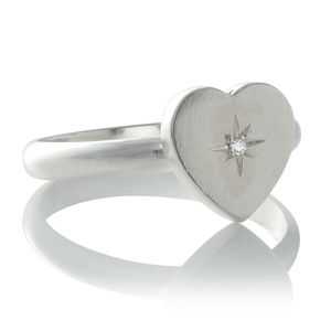 Heart Silver Diamond Set Ring Ring
