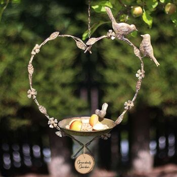 Personalised Garden Hanging Heart Bird Dish