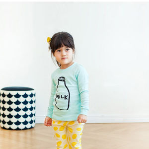 Milk Bottle Lemon Print Children's Long Sleeves Pyjamas - clothing