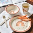 Personalised Earth Rainbow Bamboo Plate Set