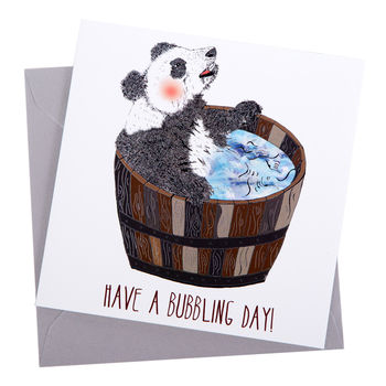 Bubble Panda Greetings Card
