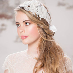 Lydia Crystal And Lace Hair Piece - bridal hairpieces