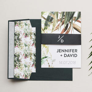 Tropical Greenery Botanical Wedding Invitations - save the date cards