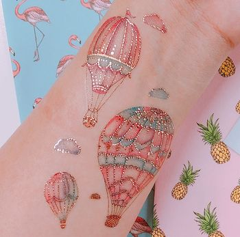 Hot Air Balloon Kawaii Temporary Tattoo