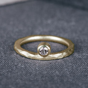 9ct Yellow Gold Offset Engagement Ring With Diamond