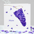 Mum Lilac Flower Butterfly Blank Card