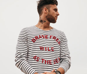 'Brave Free Wild As The Sea' Striped Breton Top And Bag - gifts for him