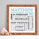 heritage wooden effect framed print - duck egg blue, black & grey text