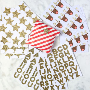 10 Gold Glitter Sticker Sheets - luxury wrap