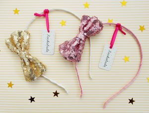 Sequin Bow Alice Band - hair accessories
