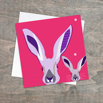 Bright Eyes Two Little Hares Greetings Card