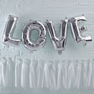 Silver Foiled Love Balloon Bunting Decoration - summer sale