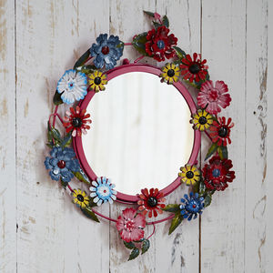 Fair Trade Bruna Metal Floral Mirror - mirrors