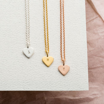 Personalised Mini Heart Necklace in silver, 9ct yellow gold plate and 9ct rose gold plate