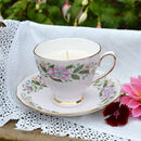 Pink China Floral Vintage Teacup And Saucer Candle