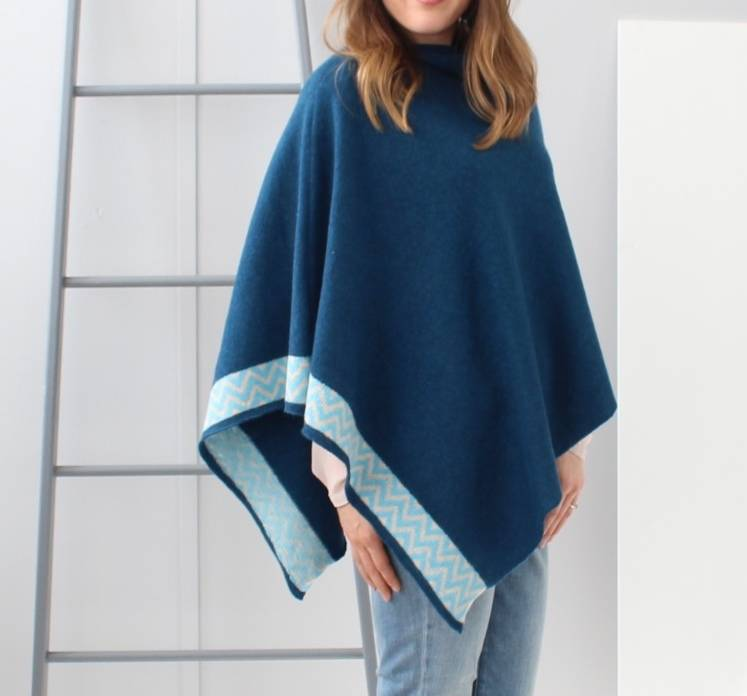 Teal Knitted Lambswool Poncho