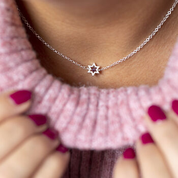 Outline Star Birthstone Necklace