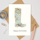 Personalised Map Welly Boot Birthday Card cowes