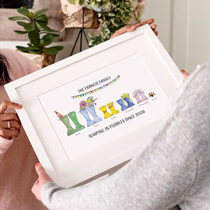 Personalised Welly Boot Family Print - gifts for families