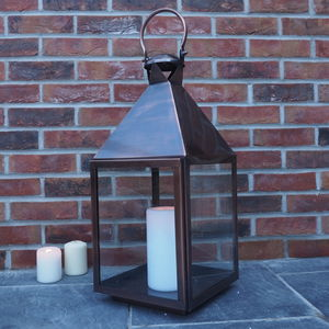 Aged Copper Tall Candle Lantern