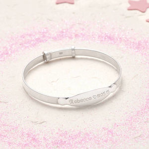 Sterling Silver Personalised Christening Bangle - personalised