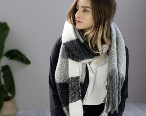 Colour Block Fringed Scarf In Grey Checked